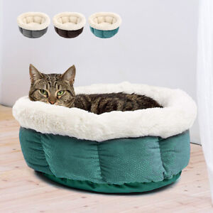 Soft Grey Dog Bed Fleece Warm Round Puppy Cat Pet Nesting Bed Mat House Cushion
