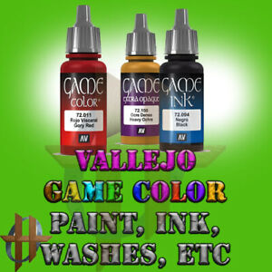Vallejo Official Game Color Acrylic Paint Miniatures, Washes Ink Free Ship $35+