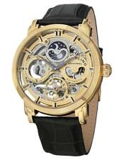 Stuhrling 371 02 Automatic Skeleton Dual Time AM/PM Indicator Leather Mens Watch