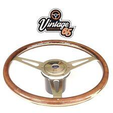 """Vw Transporter T3 T25 17"""" Flat Classic Light Wood Rim Steering Wheel Boss & Horn"""