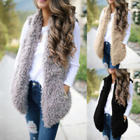 Womens Winter Fluffy Fur Waistcoat Gilet Vest Fleece Coat Jacket Tops Outwear