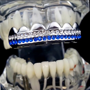 Grillz Two Rows Blue & White Silver Tone Iced Hip Hop Teeth Top Premade Grills