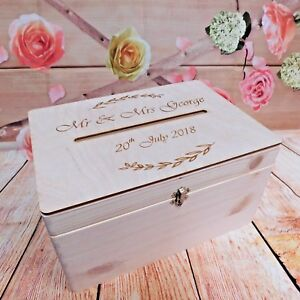 Lockable Wooden Wedding Guests Wish Post Box with Slot for Cards Envelopes