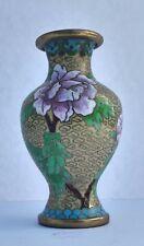 Vintage Chinese Cloisonné Celadon Gold Vase With Floral Motifs