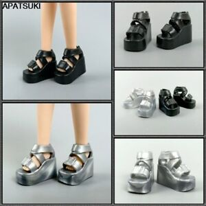 """2pairs Fashion Wedge Platform Heel Shoes for 11.5"""" Doll Sandals for Blythe 1/6"""
