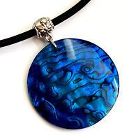 Natural Blue Paua Abalone Shell Pendant Beads Cord Necklace Women Jewelry CA347