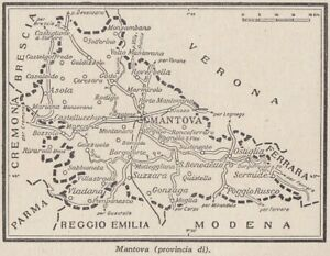 G9116 Province of Mantua - 1953 Map Period - Vintage Map