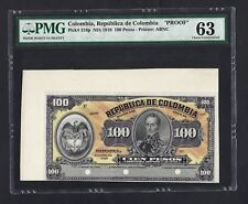 Colombia Face 100 Peso ND(1910) P318p Specimen Proof Uncirculated