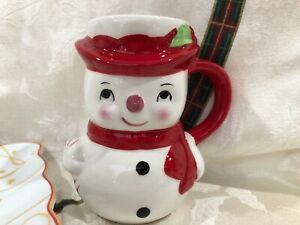SALE!! NIB~ Pottery Barn Figural Christmas SNOWMAN Mug Cup ~GIFT! 4 Available!