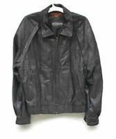 Members Only Mens Bomber Jacket Brown Leather Lined Zip Front Coat Vintage 44