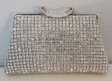 Crystal Beaded Evening Clutch Handbag Purse - Silver - New!