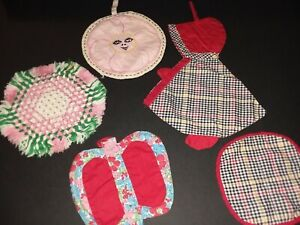 5 Vintage Hotpads Potholders Woven  Feed Sack Embroidered Handmade Sunbonnet Sue
