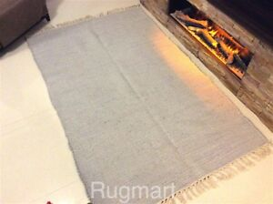Plain Grey Handmade Recycled Eco Friendly Soft Cotton Rag Rugs Washable