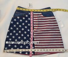 NEW American Apparel US Flag Denim Mini Skirt Medium Stone Washed XS $64 NWT