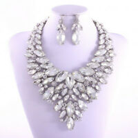 Large Rhinestone Necklace & Post Earring Set  Bridal-Drag Queen-Pageant-Costune