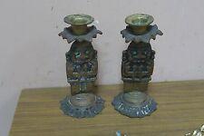 "Pair @ 2 Vintage Metal Peruvian Inca Tumi Figure Candle Holder 6.5"""