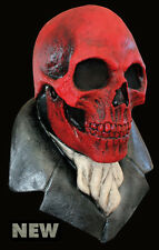 NEW Grim Reaper Skeleton DELUXE ADULT LATEX RED SKULL MASK W/ ATTACHED ASCOT