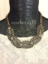 Lulu drift gold leaves frost statement necklace US SELLER vintage