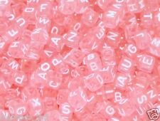50pcs pink 6mm alphabet/letter cube acrylic beads vowel pack