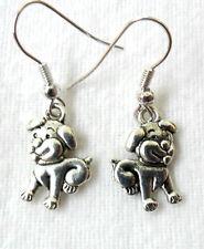 Dangle earrings - Tibetan silver style cute Puppy/dog