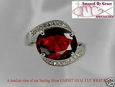 Gaarnet Red Solitaire Ring in SOLID Sterling Silver - sz 10 - NEW!