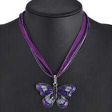 Fashion Retro Crystal Rhinestone Butterfly Sweater Pendant Necklace Women Party