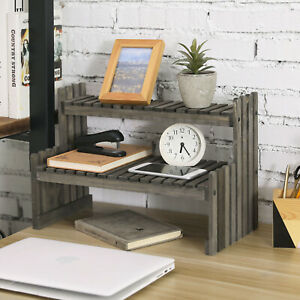 MyGift 2 Tier Tabletop Gray Rustic Wood Plant Display Media Storage Riser Stand