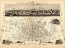 Antique Liverpool England decorative map Tallis 31,5 x 23,6 inch canvas