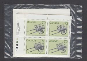 CANADA SEALED PLATE BLOCKS 1083 ARTIFACT DEFINITIVES, HAND-DRAWN CART, ROLLAND