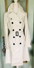Authentic Burberry London White Cream Double Breasted Long Trench Size 12 $1600