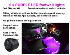 2 x 25cm Purple LED footwell lights includes switch fitting kit and instructions