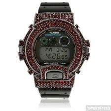 Red On Black Custom Iced Out G Shock Mens Watch DW-6900