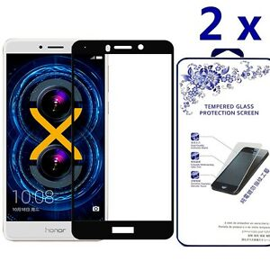 [2x] For Huawei Honor 6x Ballistic Tempered Glass Screen Protector [Black]