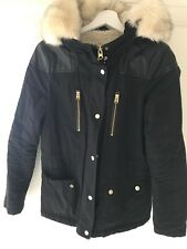 Topshop navy fur-lined parka jacket with faux fur hood