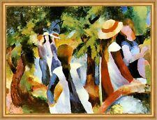 Mädchen unter Bäumen August Macke Sonne gesellig Plauderei Licht LW H A2 0056