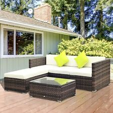 Outsunny 5pc Rattan Furniture Set Corner Wicker Sofa Table Patio Cushion Garden
