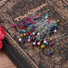 Fashion 100Pc Sewing Pin Straight Pins Round Colorful Head Pearl Corsage