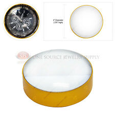 Gold Tone Magnifier Table Top Pressure Paper Magnifying Glass Reading Tool