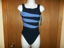 NEW WOMEN'S MAINSTREAM NAVY BLUE ONE PIECE SWIMSUIT SIZE 10 MSP $78.00