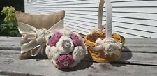 BRAND NEW LRG Crochet Wedding Bouquet, Flower Girl Basket + Ring Bearer Pillow