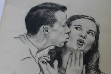 Victor Olson - Boy Kissing Girl Illustration Original Art (undated)