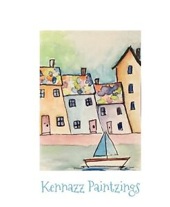 """Artist Trading Cards ACEO Original  Painting Houses By Sea 2.5""""X3.5"""" By Kenna"""