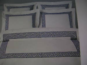 WILLIAMS SONOMA HOME REGENT EMBROIDERED BORDER SHAM PAIR STANDARD 20 X 27 NWT