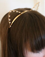 New Gold & Rhinestone Kitty Cat Kitten Ears Headband Fashion Feline Tiara Cats