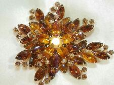 HUGE Vintage 50's Amber Prong Set Rhinestone Navette Flower Brooch 61j7