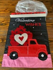 Evergreen Truckload of Hearts Applique Double Sided Garden Flag 12x18