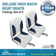 (2) Deluxe High Back Folding Marine Boat Seats- NAVY BLUE - WHITE