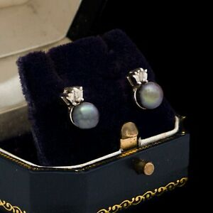 Antique Vintage Art Deco Retro 14k White Gold Tahitian Pearl Diamond Earrings