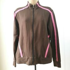 Talbots Womens Medium Athletic Jacket Long Sleeve Full Zip Stretch Brown Pink A3