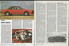 1982 BMW 635CSi road test, British magazine article BMW 635